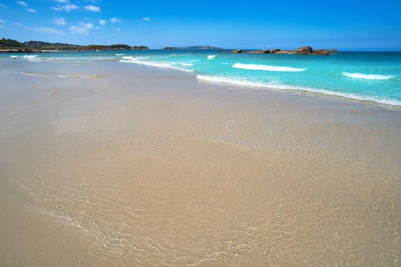 Espineiro Lanzada beach in Pontevedra of Galicia. In Sanxenxo also Sanjenjo at Spain stock photo