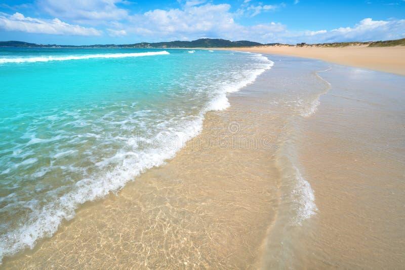 Espineiro Lanzada beach in Pontevedra of Galicia. In Sanxenxo also Sanjenjo at Spain royalty free stock photo
