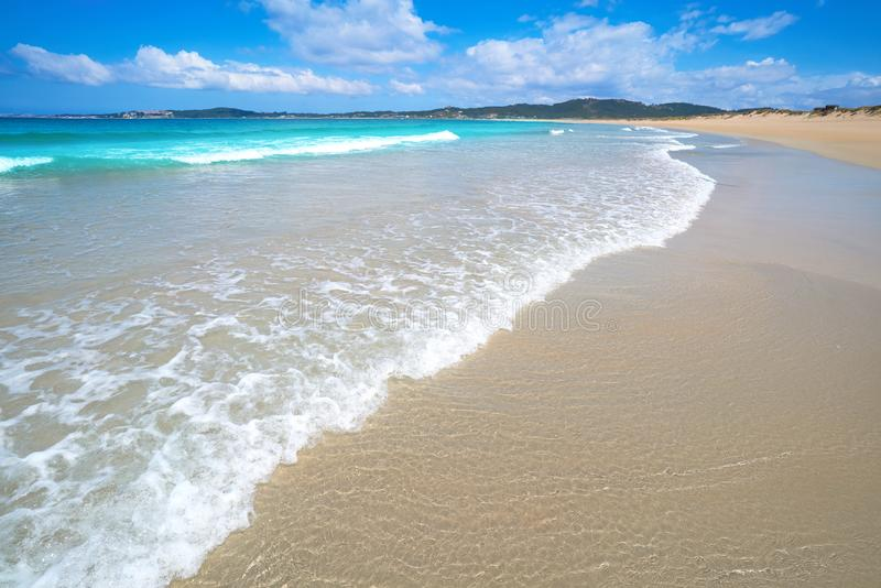 Espineiro Lanzada strand i Pontevedra av Galicia royaltyfri foto