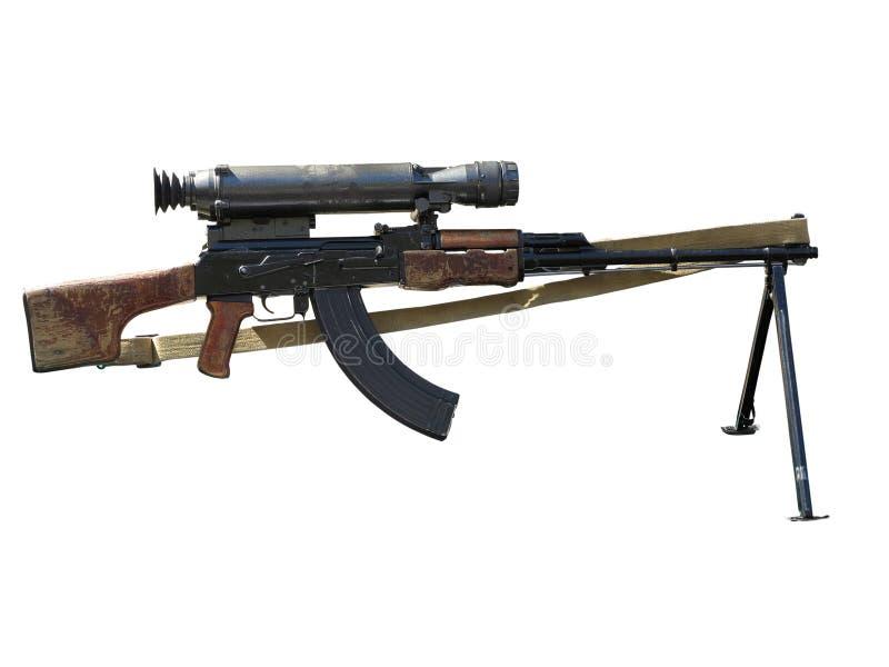 Espingarda de assalto do Kalashnikov AK com vista ótica isolada no whit fotos de stock royalty free