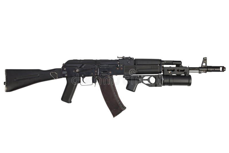espingarda de assalto moderna do Kalashnikov AK 74M com lançador de granadas do underbarrel imagens de stock