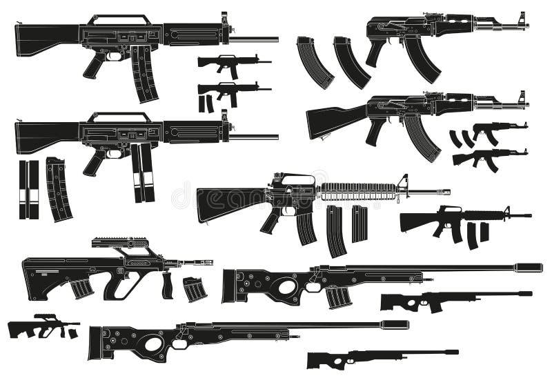 Espingardas de assalto automáticas modernas da silhueta gráfica ilustração do vetor