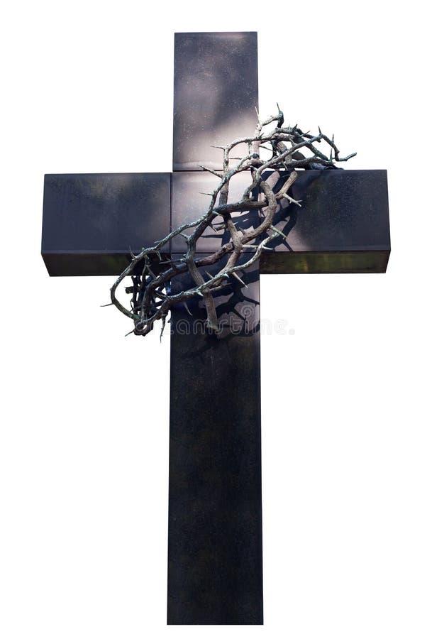 Espinhos da cruz e da coroa imagem de stock