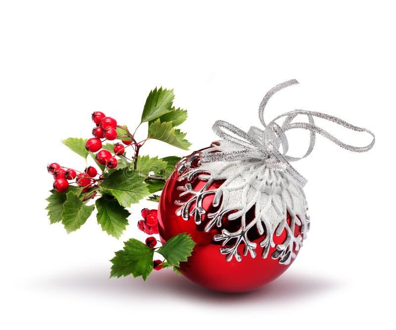 Espino rojo de la bola de la Navidad foto de archivo libre de regalías