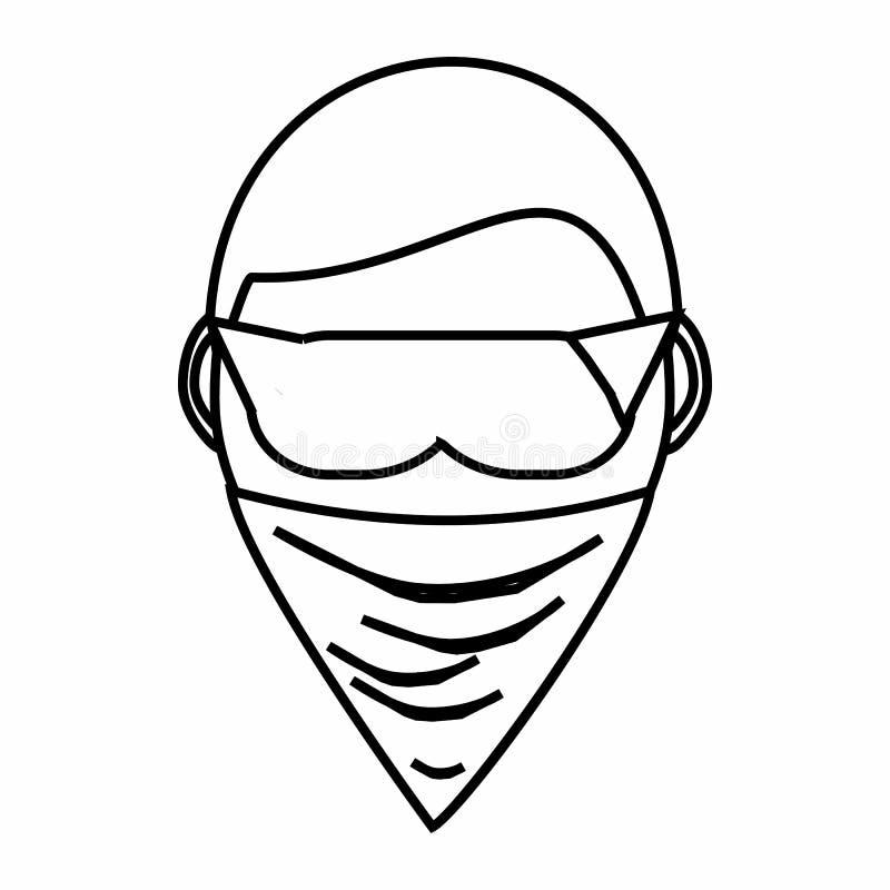 Espion dans l'icône de masque, style d'ensemble illustration stock