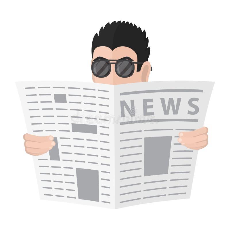 Espion dans montres de lunettes de soleil en raison du journal Espion de bande dessinée illustration de vecteur