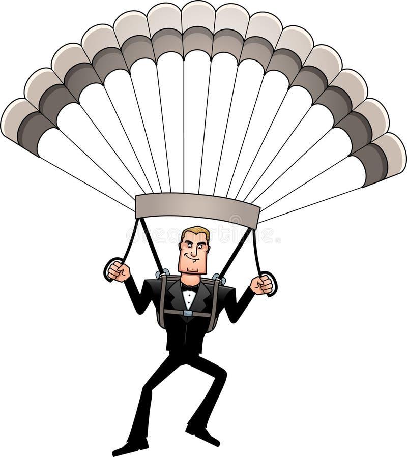 Espion de bande dessinée dans le parachutage de smoking illustration libre de droits