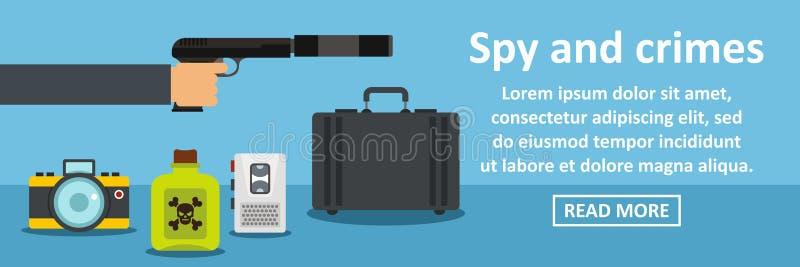 Espion et concept horizontal de bannière de crimes illustration libre de droits