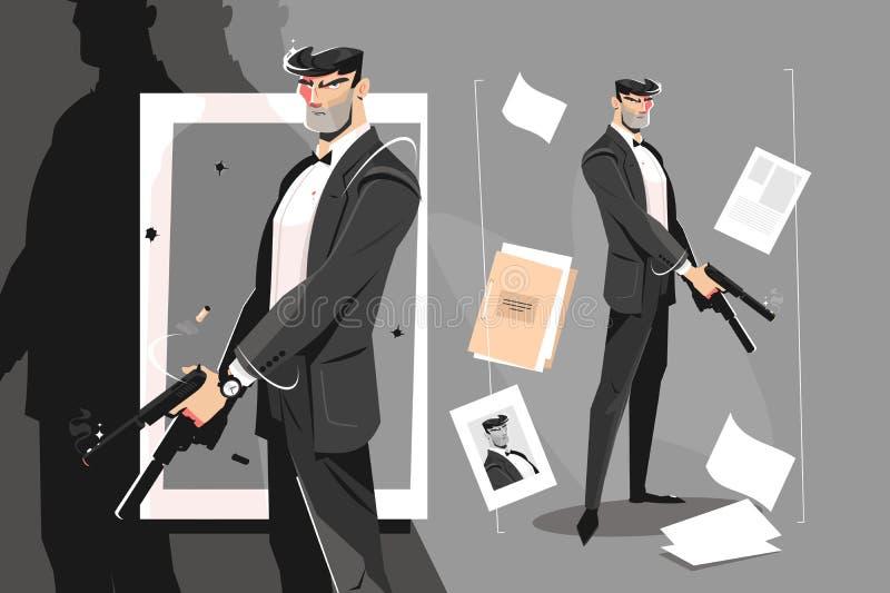 Espionaje masculino con pistola libre illustration