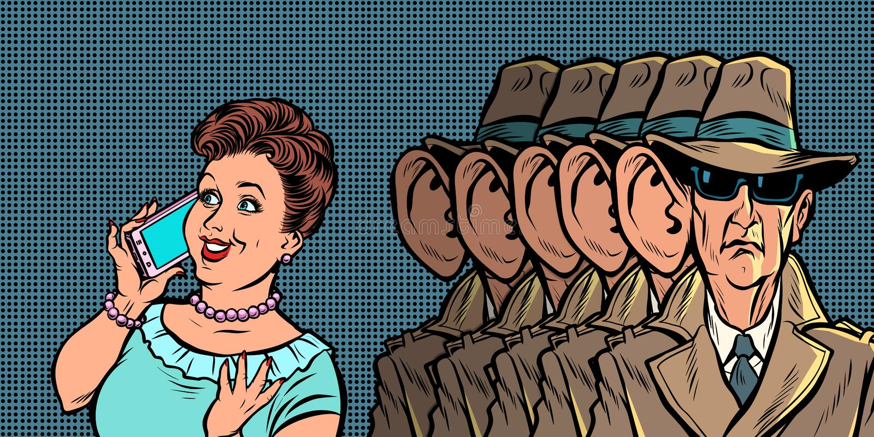 Espions écoutant des femmes clandestinement d'une conversation téléphonique illustration stock