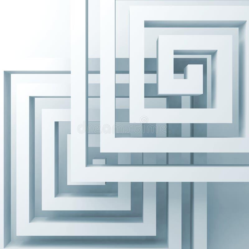 Espirais brancas quadradas abstratas sobre a luz - azul ilustração royalty free