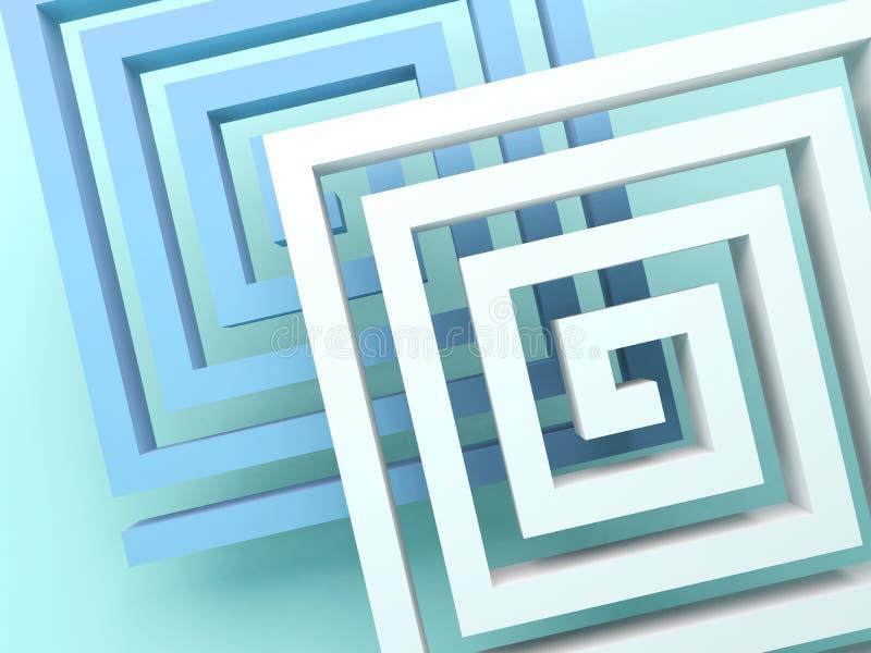 Espirais quadradas abstratas sobre o verde azul ilustração royalty free