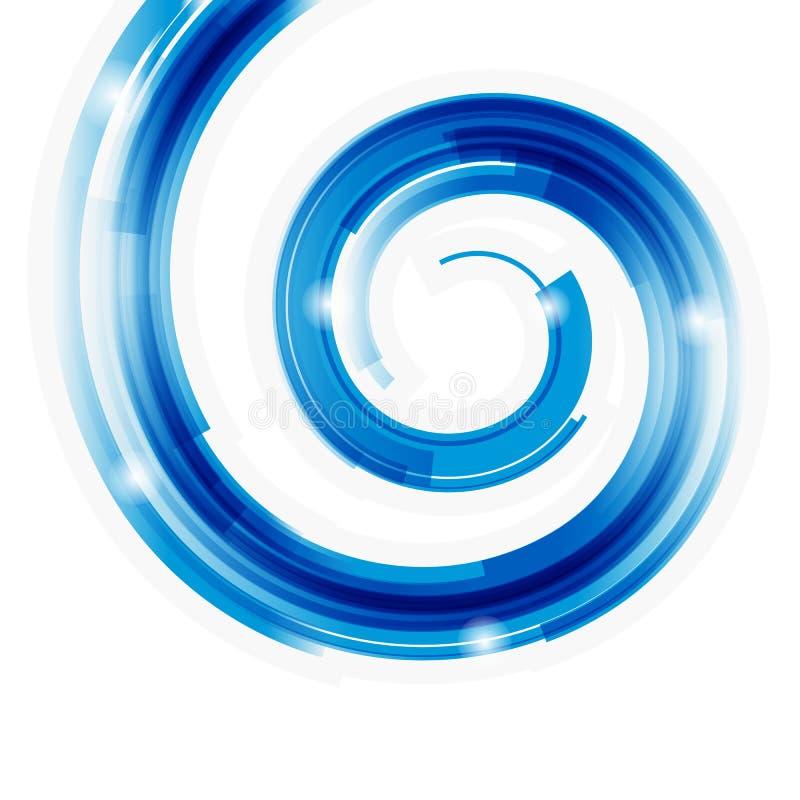 Espiral abstrata da tecnologia com fundo do bokeh. ilustração stock