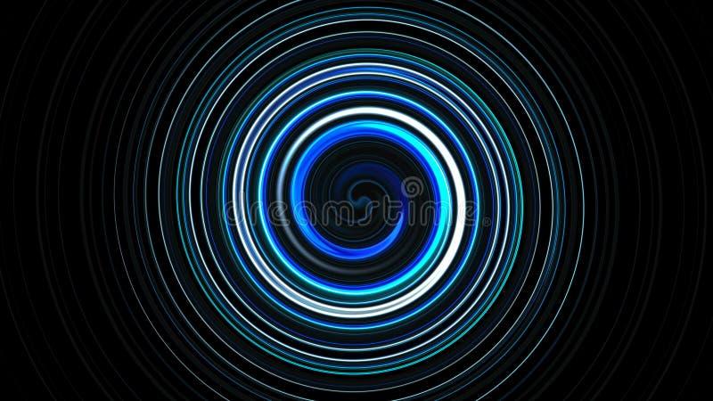 A espiral abstrata que gira e que torce linhas, fundo gerado por computador, 3D rende o fundo ilustração do vetor