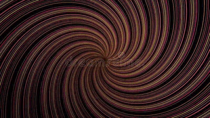 Espiral abstrata que gira e que torce linhas, fundo gerado por computador, fundo da rendição 3D Giro luminoso ilustração royalty free