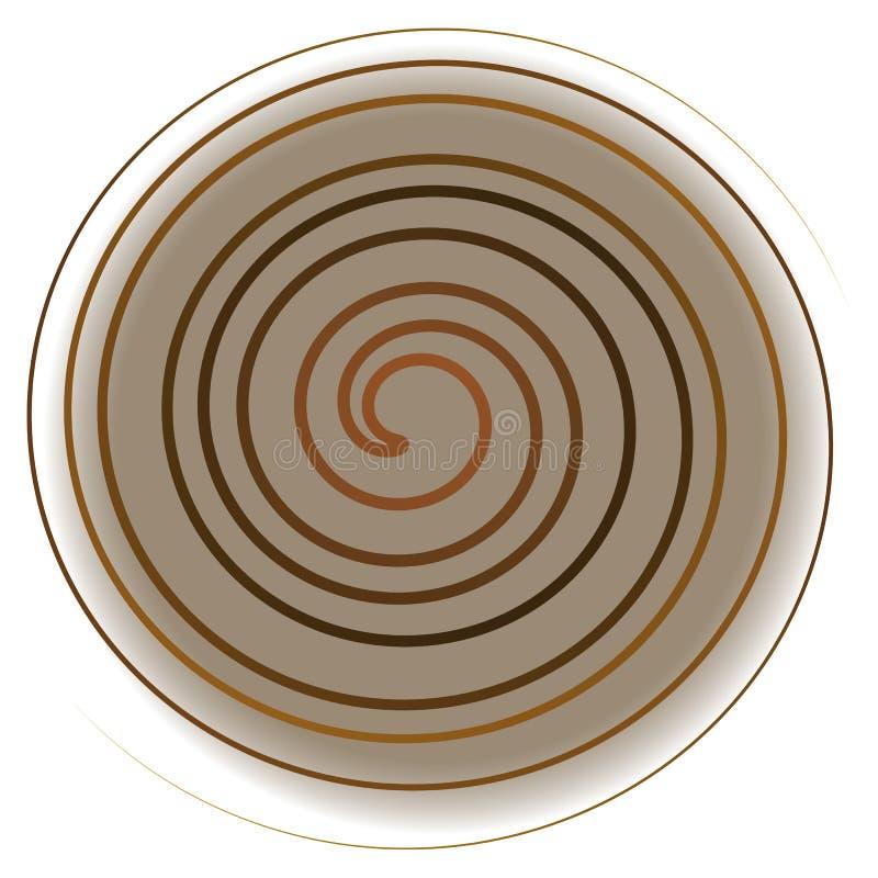 Espiral amarela no fundo branco, abstração imagens de stock