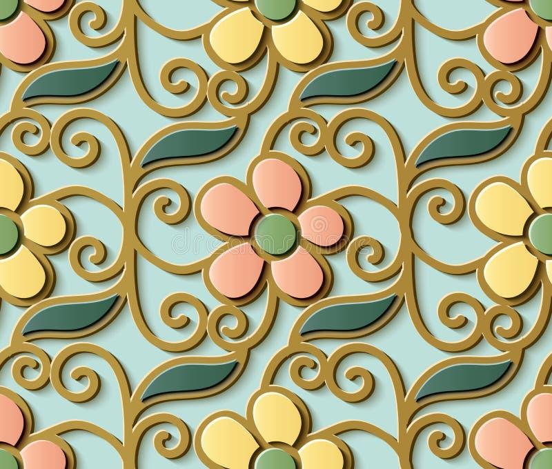 Espiral bonito c do teste padrão retro sem emenda da decoração da escultura do relevo ilustração do vetor