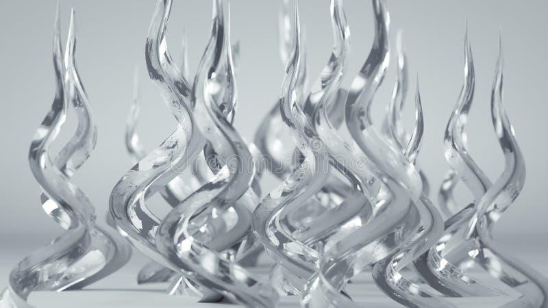 A espiral branca lustrosa dá forma à rendição 3D ilustração do vetor