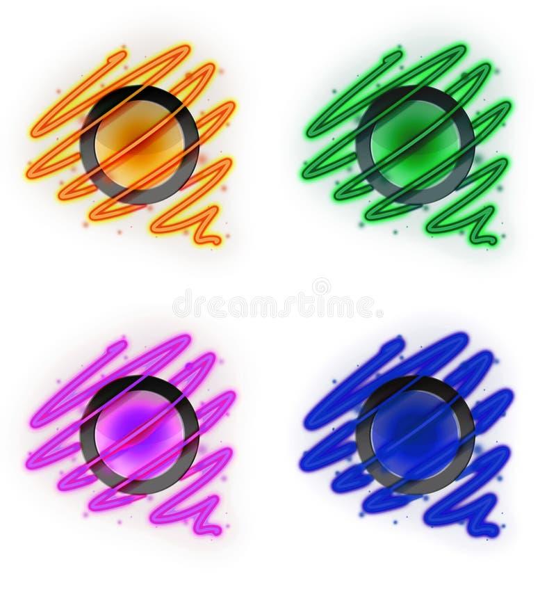 Espiral brilhante em torno do botão do fogo em quatro ilustração do vetor