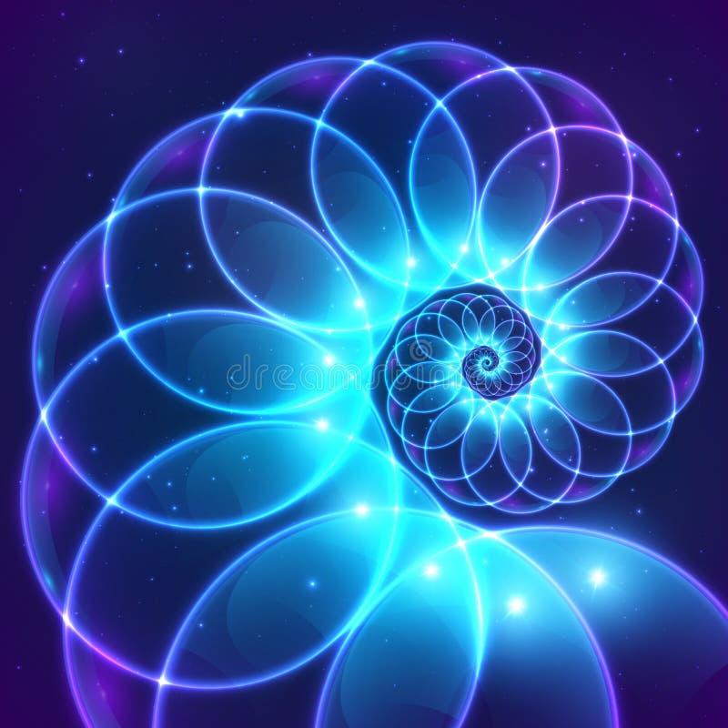 Espiral cósmica do fractal abstrato azul do vetor ilustração stock