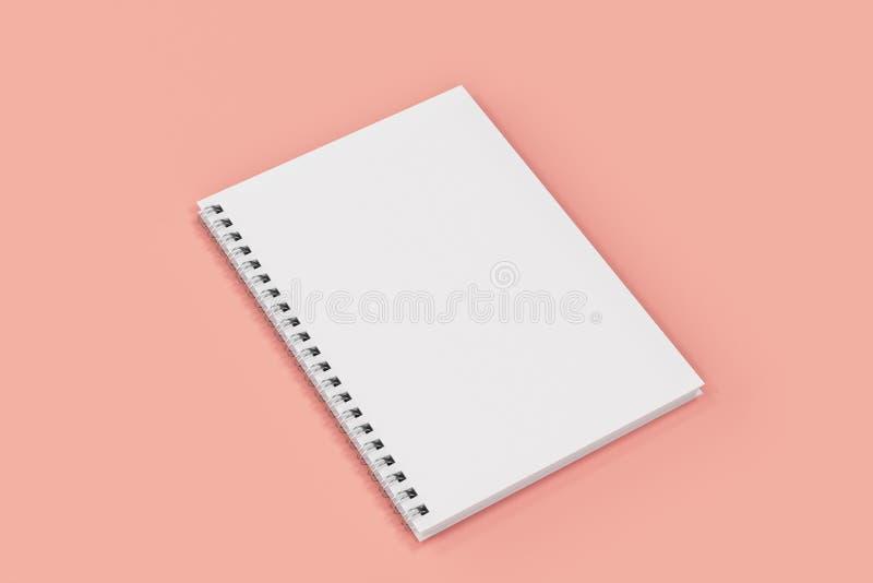 Espiral cerrado del cuaderno - limite en fondo rojo ilustración del vector