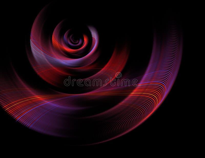 Espiral colorido 3D del fractal abstracto en fondo negro ilustración del vector