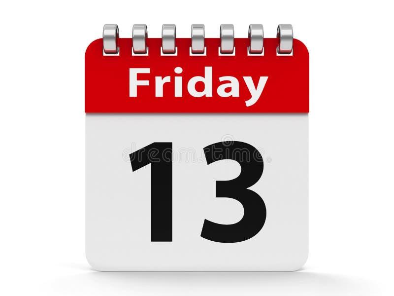 Espiral décimotercero viernes del calendario del icono stock de ilustración