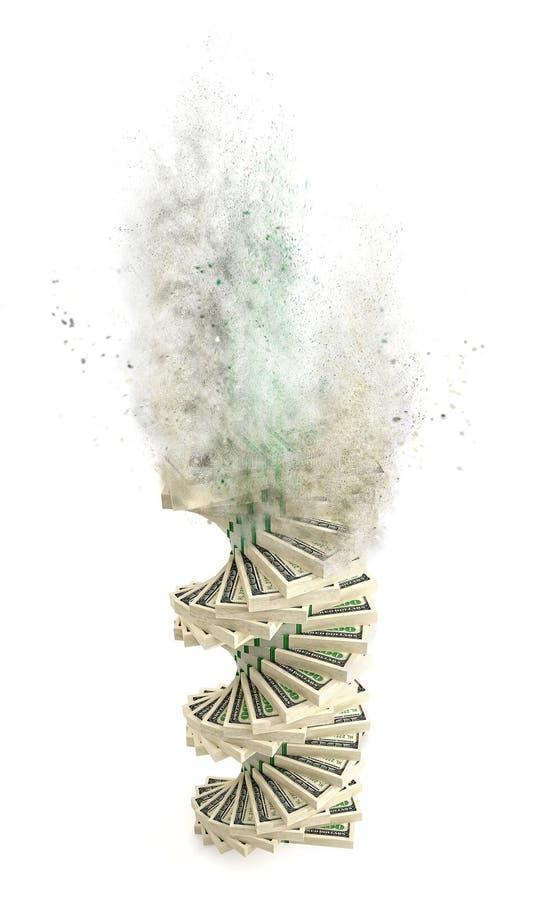 Espiral das cédulas do dólar que vão acima no fumo ilustração royalty free