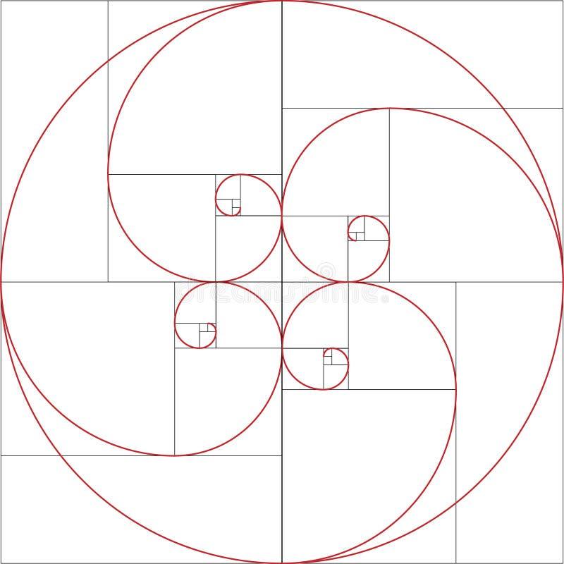 Espiral de Fibonacci Relação dourada ilustração stock