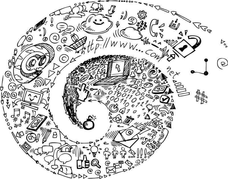 Espiral de garatujas sociais da rede ilustração do vetor