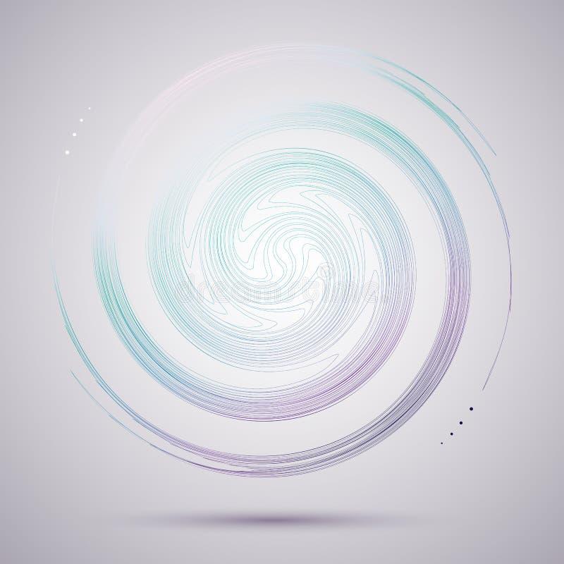 Espiral de gerencio da circular abstrata brilhante um teste padrão de linhas coloridas torcidas para o projeto e o projeto criati ilustração do vetor