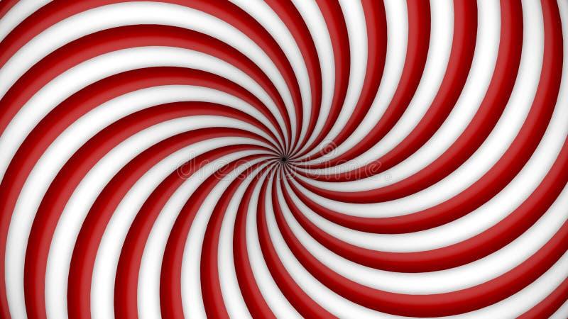 Espiral de giro do vermelho e a branca da hipnose ilustração stock