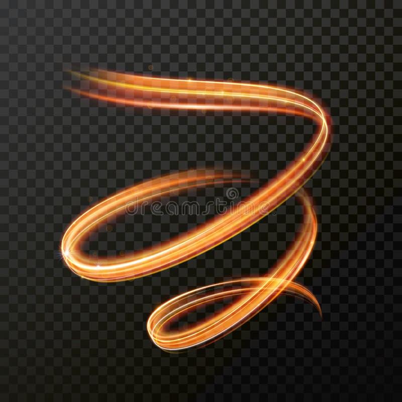 Espiral de incandescência do redemoinho do fogo Efeito da luz abstrato do vetor ilustração do vetor