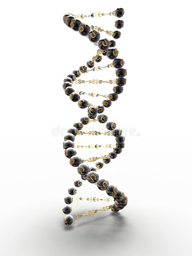 Espiral de la DNA con los símbolos del dólar y imágenes de archivo libres de regalías