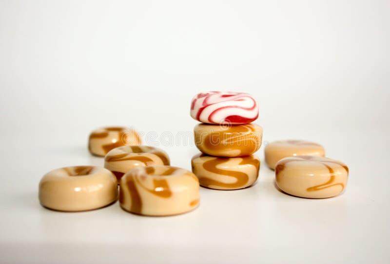 espiral de la leche dulce del caramelo del caramelo imagen de archivo