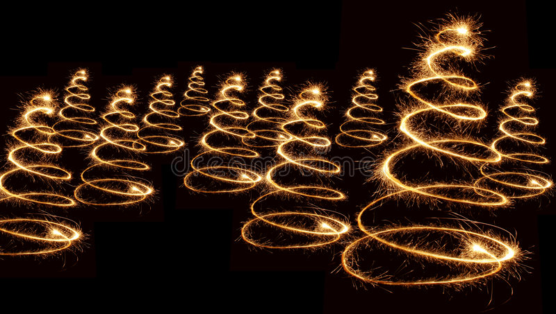 Espiral de los árboles de navidad del Sparkler imagen de archivo libre de regalías
