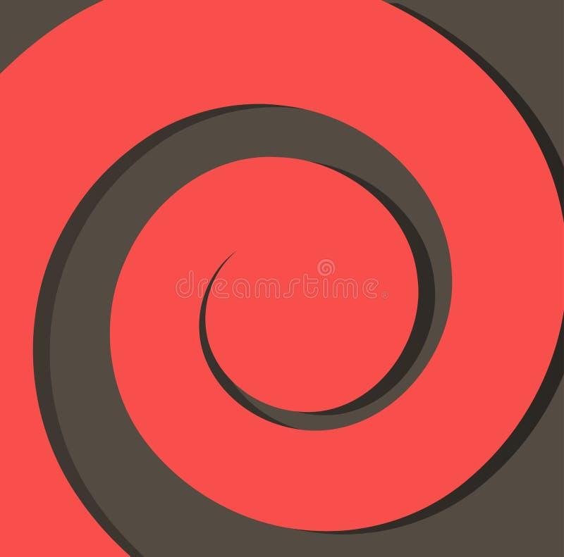Espiral de papel rojo en un fondo oscuro del vector del extracto del fondo fotos de archivo