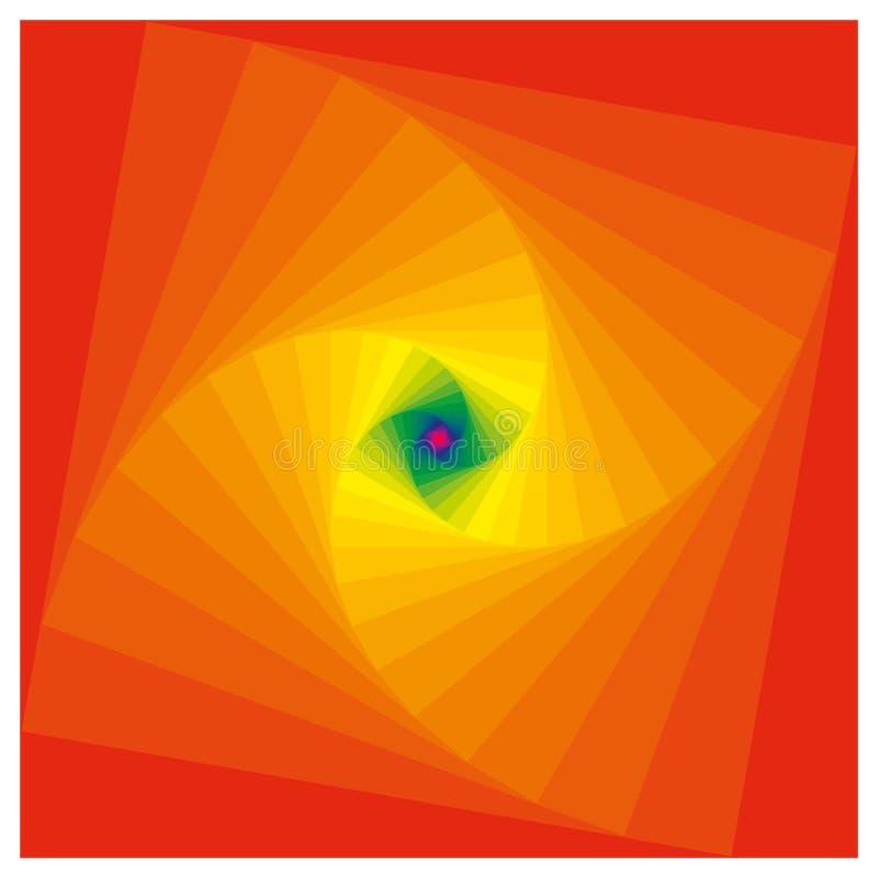 Espiral de quadrados das cores com ponto de desaparecimento ilustração do vetor