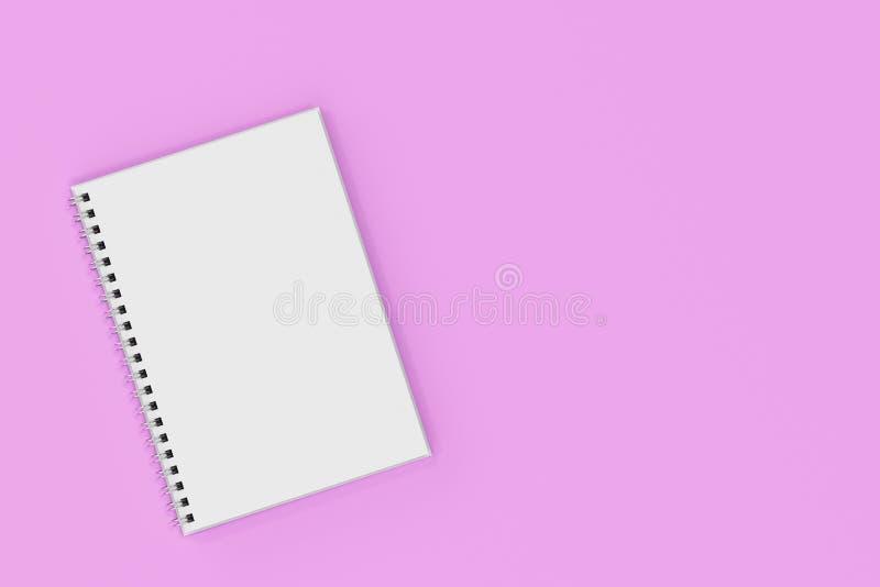 Espiral del cuaderno de Opend - limite en el fondo violeta ilustración del vector
