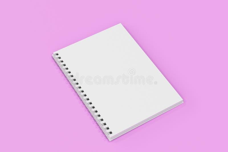 Espiral del cuaderno de Opend - limite en el fondo violeta libre illustration