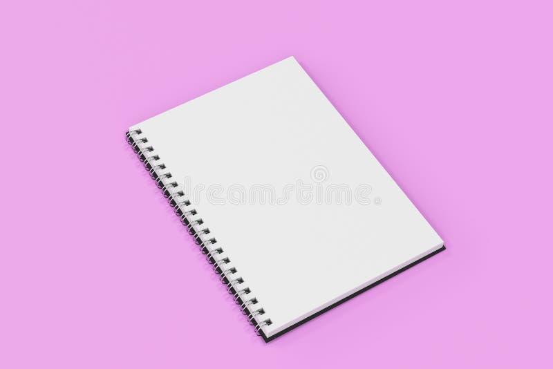 Espiral del cuaderno de Opend - limite en el fondo violeta stock de ilustración