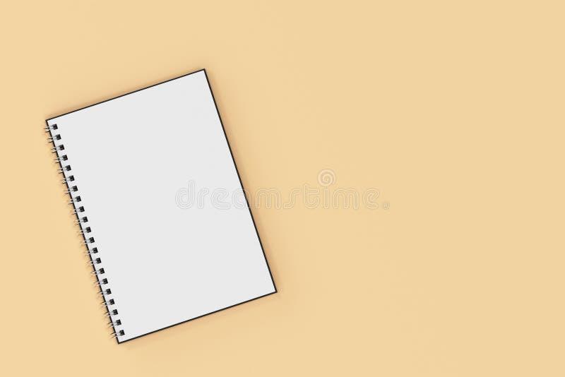 Espiral del cuaderno de Opend - limite en fondo anaranjado libre illustration