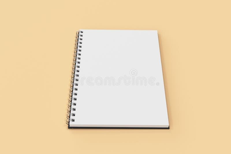 Espiral del cuaderno de Opend - limite en fondo anaranjado ilustración del vector