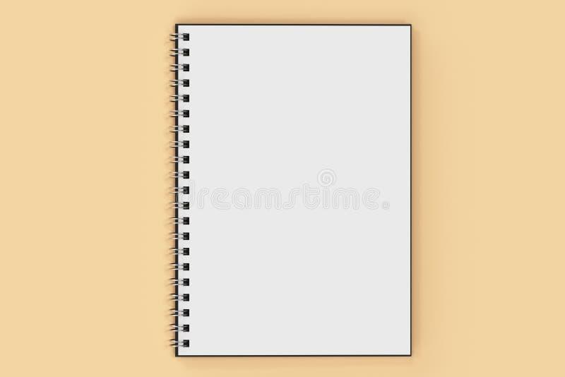 Espiral del cuaderno de Opend - limite en fondo anaranjado stock de ilustración