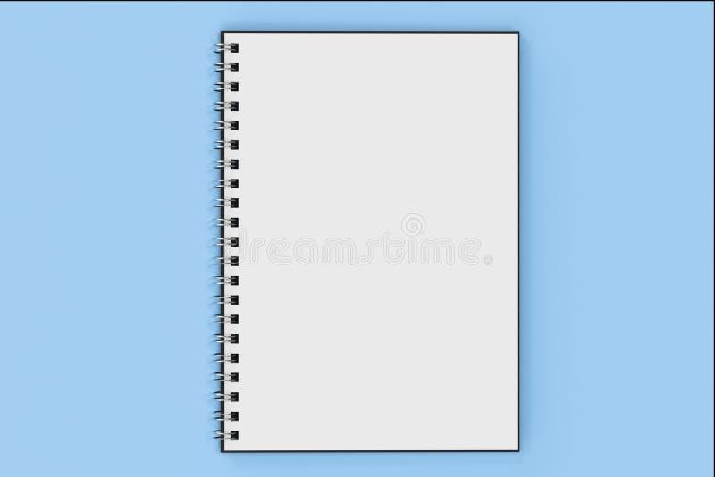 Espiral del cuaderno de Opend - limite en fondo azul stock de ilustración