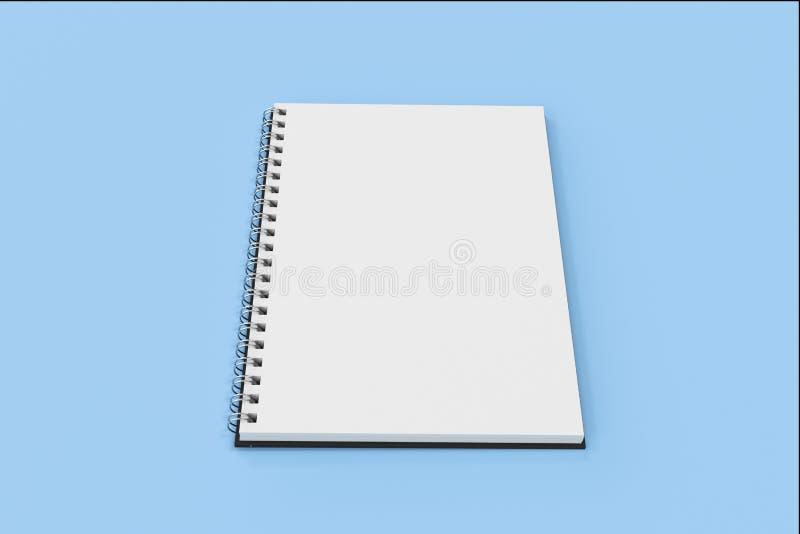Espiral del cuaderno de Opend - limite en fondo azul libre illustration