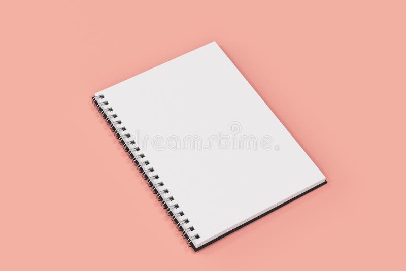 Espiral del cuaderno de Opend - limite en fondo rojo ilustración del vector