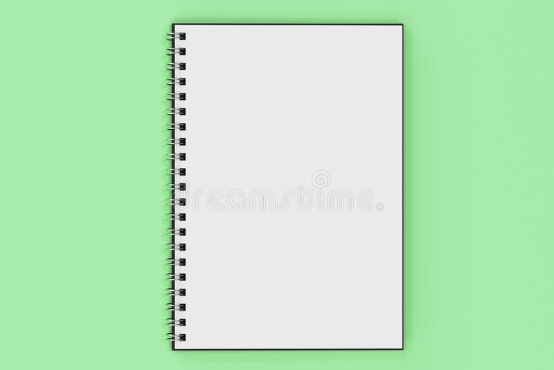 Espiral del cuaderno de Opend - limite en fondo verde ilustración del vector