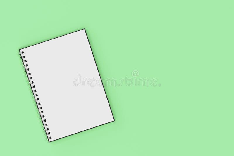 Espiral del cuaderno de Opend - limite en fondo verde stock de ilustración