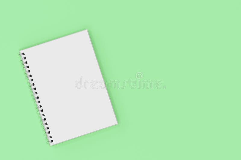 Espiral del cuaderno de Opend - limite en fondo verde libre illustration